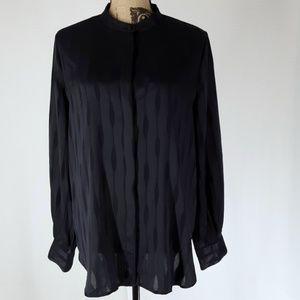 Ann Taylor | Navy Long-sleeve Button Down Top (L)